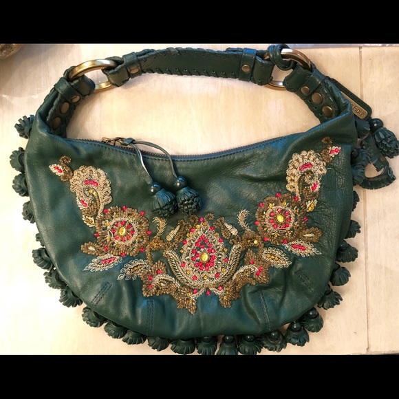 97f9ff4eb0 Isabella Fiore Handbags - Isabella Fiore Green Lthr hobo fringe beaded bag
